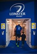 11 June 2021; Scott Fardy of Leinster with his son August leave the pitch after the Guinness PRO14 match between Leinster v Dragons at RDS Arena in Dublin. The game is one of the first of a number of pilot sports events over the coming weeks which are implementing guidelines set out by the Irish government to allow for the safe return of spectators to sporting events. Photo by Ramsey Cardy/Sportsfile