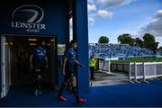 11 June 2021; Leinster captain Garry Ringrose leads his side out prior to the Guinness PRO14 match between Leinster and Dragons at the RDS Arena in Dublin. Photo by Ramsey Cardy/Sportsfile