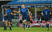 11 June 2021; Devin Toner of Leinster congratulates Scott Fardy on his final Leinster appearance during the Guinness PRO14 match between Leinster and Dragons at RDS Arena in Dublin. The game is one of the first of a number of pilot sports events over the coming weeks which are implementing guidelines set out by the Irish government to allow for the safe return of spectators to sporting events. Photo by Ramsey Cardy/Sportsfile