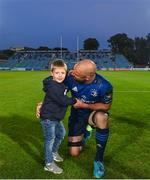 11 June 2021; Scott Fardy of Leinster and his son August following the Guinness PRO14 match between Leinster and Dragons at RDS Arena in Dublin. The game is one of the first of a number of pilot sports events over the coming weeks which are implementing guidelines set out by the Irish government to allow for the safe return of spectators to sporting events. Photo by Ramsey Cardy/Sportsfile
