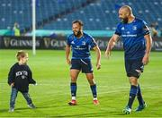 11 June 2021; Scott Fardy, right, with his son August, and Jamison Gibson-Park of Leinster following the Guinness PRO14 match between Leinster and Dragons at RDS Arena in Dublin. The game is one of the first of a number of pilot sports events over the coming weeks which are implementing guidelines set out by the Irish government to allow for the safe return of spectators to sporting events. Photo by Ramsey Cardy/Sportsfile