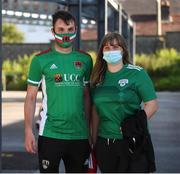 11 June 2021; Cork City supporters Jennifer Cronin and Dominic Heffernan ahead of the SSE Airtricity League First Division match between Cork City and Cabinteely at Turners Cross in Cork. Photo by Michael P Ryan/Sportsfile
