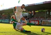 11 June 2021; Dan Blackbyrne of Cabinteely in action against Cian Murphy of Cork City during the SSE Airtricity League First Division match between Cork City and Cabinteely at Turners Cross in Cork. Photo by Michael P Ryan/Sportsfile