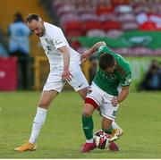 11 June 2021; Steven Beattie of Cork City in action against Niall Barnes of Cabinteely during the SSE Airtricity League First Division match between Cork City and Cabinteely at Turners Cross in Cork. Photo by Michael P Ryan/Sportsfile