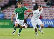 11 June 2021; Beineon O'Brien-Whitmarsh of Cork City in action against Kevin Knight of Cabinteely during the SSE Airtricity League First Division match between Cork City and Cabinteely at Turners Cross in Cork. Photo by Michael P Ryan/Sportsfile