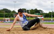 12 June 2021; Jordan Hoang of Tullamore Harriers AC, Offaly, competing in the Senior Men's Triple Jump during day one of the AAI Games & Combined Events Championships at Morton Stadium in Santry, Dublin. Photo by Sam Barnes/Sportsfile