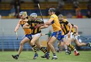 12 June 2021; TJ Reid of Kilkenny is tackled by Cathal Malone of Clare during the Allianz Hurling League Division 1 Group B Round 5 match between Clare and Kilkenny at Cusack Park in Ennis, Clare. Photo by Ramsey Cardy/Sportsfile