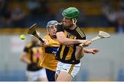 12 June 2021; Eoin Cody of Kilkenny in action against David McInerney of Clare during the Allianz Hurling League Division 1 Group B Round 5 match between Clare and Kilkenny at Cusack Park in Ennis, Clare. Photo by Ramsey Cardy/Sportsfile
