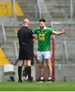 12 June 2021; James Dolan of Westmeath protests to referee Cormac Reilly after he blows the final whistle during the Allianz Football League Division 2 Relegation play-off match between Cork and Westmeath at Páirc Uí Chaoimh in Cork. Photo by Eóin Noonan/Sportsfile