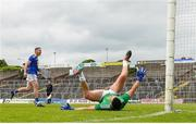 12 June 2021; Seanie Furlong of Wicklow celebrates after scoring his side's third goal, a penalty, past Cavan goalkeeper Raymond Galligan during the Allianz Football League Division 3 Relegation play-off match between Cavan and Wicklow at Páirc Tailteann in Navan, Meath. Photo by Stephen McCarthy/Sportsfile