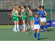 12 June 2021; Anna O'Flanagan of Ireland, centre, celebrates with team-mates after scoring her side's second goal during the Women's EuroHockey Championships Pool C match between Ireland and Italy at Wagener Hockey Stadium in Amstelveen, Netherlands. Photo by Gerrit van Keulen/Sportsfile