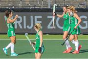 12 June 2021; Anna O'Flanagan, left, Deirdre Duke and Zara Malseed of Ireland celebrate after their side's third goal during the Women's EuroHockey Championships Pool C match between Ireland and Italy at Wagener Hockey Stadium in Amstelveen, Netherlands. Photo by Gerrit van Keulen/Sportsfile