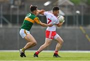 12 June 2021; Liam Rafferty of Tyrone in action against Brian Ó Beaglaoich of Kerry during the Allianz Football League Division 1 semi-final match between Kerry and Tyrone at Fitzgerald Stadium in Killarney, Kerry. Photo by Brendan Moran/Sportsfile
