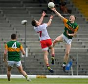 12 June 2021; Jason Foley of Kerry gets to the ball ahead of Liam Rafferty of Tyrone during the Allianz Football League Division 1 semi-final match between Kerry and Tyrone at Fitzgerald Stadium in Killarney, Kerry. Photo by Brendan Moran/Sportsfile