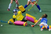12 June 2021; Ayeisha McFerran of Ireland in action against Sofia Laurito of Italy  during the Women's EuroHockey Championships Pool C match between Ireland and Italy at Wagener Hockey Stadium in Amstelveen, Netherlands. Photo by Gerrit van Keulen/Sportsfile