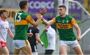 12 June 2021; Paul Geaney of Kerry celebrates with team-mate David Clifford after scoring his first and their side's fourth goal during the Allianz Football League Division 1 semi-final match between Kerry and Tyrone at Fitzgerald Stadium in Killarney, Kerry. Photo by Brendan Moran/Sportsfile