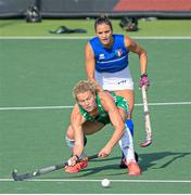 12 June 2021; Zara Malseed of Ireland in action against Constanza Aguirre of Italy during the Women's EuroHockey Championships Pool C match between Ireland and Italy at Wagener Hockey Stadium in Amstelveen, Netherlands. Photo by Gerrit van Keulen/Sportsfile