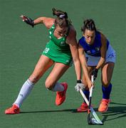 12 June 2021; Luciana Fernandez of Italy in action against Deirdre Duke of Ireland during the Women's EuroHockey Championships Pool C match between Ireland and Italy at Wagener Hockey Stadium in Amstelveen, Netherlands. Photo by Gerrit van Keulen/Sportsfile