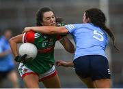 12 June 2021; Niamh Kelly of Mayo in action against Leah Caffrey of Dublin during the Lidl Ladies National Football League Division 1 semi-final match between Dublin and Mayo at LIT Gaelic Grounds in Limerick. Photo by Piaras Ó Mídheach/Sportsfile