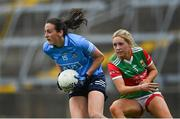 12 June 2021; Hannah Tyrrell of Dublin in action against Eilish Ronayne of Mayo during the Lidl Ladies National Football League Division 1 semi-final match between Dublin and Mayo at LIT Gaelic Grounds in Limerick. Photo by Piaras Ó Mídheach/Sportsfile