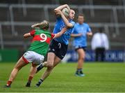 12 June 2021; Lauren Magee of Dublin in action against Sinéad Cafferky of Mayo during the Lidl Ladies National Football League Division 1 semi-final match between Dublin and Mayo at LIT Gaelic Grounds in Limerick. Photo by Piaras Ó Mídheach/Sportsfile