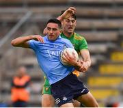 12 June 2021; Niall Scully of Dublin in action against Michael Langan of Donegal during the Allianz Football League Division 1 semi-final match between Donegal and Dublin at Kingspan Breffni Park in Cavan. Photo by Ray McManus/Sportsfile