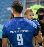 11 June 2021; Jamison Gibson-Park of Leinster and his daughter Iris following the Guinness PRO14 match between Leinster and Dragons at RDS Arena in Dublin. The game is one of the first of a number of pilot sports events over the coming weeks which are implementing guidelines set out by the Irish government to allow for the safe return of spectators to sporting events. Photo by Ramsey Cardy/Sportsfile
