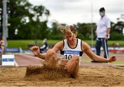 13 June 2021; Lara O'Byrne of Donore Harriers, Dublin, competing in the Long Jump event of the Senior Heptathlon during day two of the AAI Games & Combined Events Championships at Morton Stadium in Santry, Dublin. Photo by Sam Barnes/Sportsfile