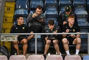 12 June 2021; Donegal players Odhrán McFadden, front left, Peadar Mogan and Oisín Gallen and Neil McGee, Michael Murphy, in the row behind, enjoy some food after the Allianz Football League Division 1 semi-final match between Donegal and Dublin at Kingspan Breffni Park in Cavan. Photo by Ray McManus/Sportsfile