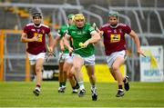 13 June 2021; Brian O'Grady of Limerick in action against Niall O'Brien of Westmeath during the Allianz Hurling League Division 1 Group A Round 5 match between Westmeath and Limerick at TEG Cusack Park in Mullingar, Westmeath. Photo by Seb Daly/Sportsfile