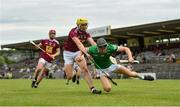13 June 2021; Conor Boylan of Limerick in action against Aaron Craig of Westmeath during the Allianz Hurling League Division 1 Group A Round 5 match between Westmeath and Limerick at TEG Cusack Park in Mullingar, Westmeath. Photo by Seb Daly/Sportsfile