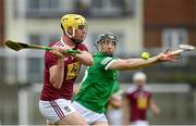 13 June 2021; Aaron Craig of Westmeath in action against Brian O'Grady of Limerick during the Allianz Hurling League Division 1 Group A Round 5 match between Westmeath and Limerick at TEG Cusack Park in Mullingar, Westmeath. Photo by Seb Daly/Sportsfile