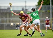 13 June 2021; Aaron Craig of Westmeath in action against Conor Boylan of Limerick during the Allianz Hurling League Division 1 Group A Round 5 match between Westmeath and Limerick at TEG Cusack Park in Mullingar, Westmeath. Photo by Seb Daly/Sportsfile