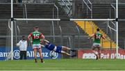 13 June 2021; Cillian O'Connor of Mayo scores his side's first goal from a penalty during the Allianz Football League Division 2 semi-final match between Clare and Mayo at Cusack Park in Ennis, Clare. Photo by Brendan Moran/Sportsfile