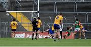 13 June 2021; Oisin Mullin of Mayo (3) scores his side's second goal during the Allianz Football League Division 2 semi-final match between Clare and Mayo at Cusack Park in Ennis, Clare. Photo by Brendan Moran/Sportsfile