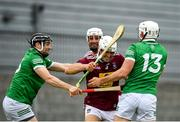 13 June 2021; Conor Shaw of Westmeath in action against Graeme Mulcahy, left, and Aaron Gillane of Limerick during the Allianz Hurling League Division 1 Group A Round 5 match between Westmeath and Limerick at TEG Cusack Park in Mullingar, Westmeath. Photo by Seb Daly/Sportsfile