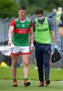 13 June 2021; Cillian O'Connor of Mayo leaves the pitch with an injury during the Allianz Football League Division 2 semi-final match between Clare and Mayo at Cusack Park in Ennis, Clare. Photo by Brendan Moran/Sportsfile