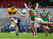 13 June 2021; Oisin Mullin of Mayo blocks a shot by Joe McGann of Clare during the Allianz Football League Division 2 semi-final match between Clare and Mayo at Cusack Park in Ennis, Clare. Photo by Brendan Moran/Sportsfile