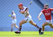 13 June 2021; Conor Whelan of Galway scores his side's first goal despite the efforts of Mark Coleman of Cork during the Allianz Hurling League Division 1 Group A Round 5 match between Cork and Galway at Páirc Ui Chaoimh in Cork. Photo by Eóin Noonan/Sportsfile