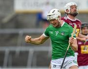 13 June 2021; Kyle Hayes of Limerick celebrates after scoring his side's first goal during the Allianz Hurling League Division 1 Group A Round 5 match between Westmeath and Limerick at TEG Cusack Park in Mullingar, Westmeath. Photo by Seb Daly/Sportsfile