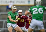 13 June 2021; Kyle Hayes of Limerick shoots to score his side's first goal, despite pressure from Westmeath's Tommy Gallagher, during the Allianz Hurling League Division 1 Group A Round 5 match between Westmeath and Limerick at TEG Cusack Park in Mullingar, Westmeath. Photo by Seb Daly/Sportsfile