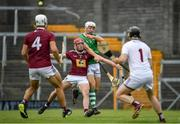 13 June 2021; Pat Ryan of Limerick in action against Darragh Egerton of Westmeath during the Allianz Hurling League Division 1 Group A Round 5 match between Westmeath and Limerick at TEG Cusack Park in Mullingar, Westmeath. Photo by Seb Daly/Sportsfile