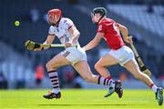 13 June 2021; Conor Whelan of Galway beats the tackle of Mark Coleman of Cork on his way to scoring his side's first goal during the Allianz Hurling League Division 1 Group A Round 5 match between Cork and Galway at Páirc Ui Chaoimh in Cork. Photo by Eóin Noonan/Sportsfile