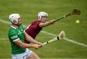 13 June 2021; Conor Shaw of Westmeath attempts to block a shot from Limerick's Aaron Gillane during the Allianz Hurling League Division 1 Group A Round 5 match between Westmeath and Limerick at TEG Cusack Park in Mullingar, Westmeath. Photo by Seb Daly/Sportsfile