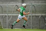 13 June 2021; Pat Ryan of Limerick celebrates after scoring his side's third goal during the Allianz Hurling League Division 1 Group A Round 5 match between Westmeath and Limerick at TEG Cusack Park in Mullingar, Westmeath. Photo by Seb Daly/Sportsfile