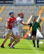 13 June 2021; Conor Whelan of Galway in action against Sean O'Donoghue of Cork during the Allianz Hurling League Division 1 Group A Round 5 match between Cork and Galway at Páirc Ui Chaoimh in Cork. Photo by Eóin Noonan/Sportsfile