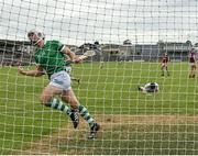 13 June 2021; Pat Ryan of Limerick celebrates after scoring his side's third goal, as Westmeath goalkeeper Noel Conaty reacts to conceding, during the Allianz Hurling League Division 1 Group A Round 5 match between Westmeath and Limerick at TEG Cusack Park in Mullingar, Westmeath. Photo by Seb Daly/Sportsfile