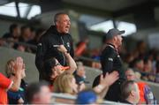 13 June 2021; Armagh coach Kieran Donaghy celebrates a point during the Allianz Football League Division 1 Relegation play-off match between Armagh and Roscommon at Athletic Grounds in Armagh. Photo by Ramsey Cardy/Sportsfile