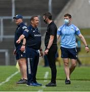 13 June 2021; Clare manager Colm Collins speaks to fourth official Thomas Murphy during the Allianz Football League Division 2 semi-final match between Clare and Mayo at Cusack Park in Ennis, Clare. Photo by Brendan Moran/Sportsfile