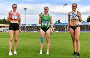 13 June 2021; Senior Heptathlon medalists, from left, Louise King of St. Colmans South Mayo AC, Mayo, Bronze, Elizabeth Morland of Cushinstown AC, Meath, Gold and Lara O'Byrne of Donore Harriers, Dublin, Silver, during day two of the AAI Games & Combined Events Championships at Morton Stadium in Santry, Dublin. Photo by Sam Barnes/Sportsfile